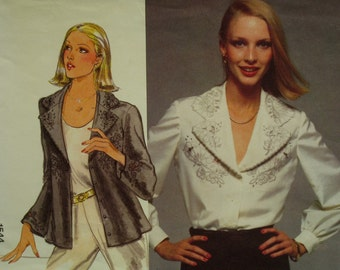 "Notched Collar Blouse Pattern, Front Cutwork Design, Long Sleeves, Cuffs, V-Neck, Transfers, Vogue No. 1544 UNCUT Size 14 (Bust 36"" 92cm)"