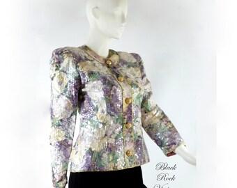 Floral Sequin Jacket, Vintage 1990s, Size Small/Medium, Plum Cream Sage Gold