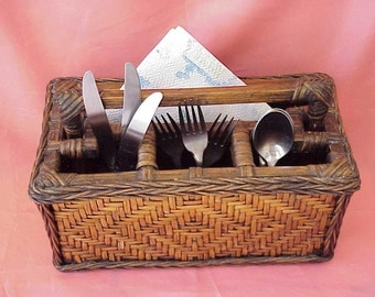 Unique Vintage Rustic Farmhouse Wooden and Reed Silverware or Desk Organizer Basket