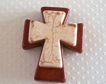 Large Stacked Brown Stone Cross with Cream Colored Stone Cross