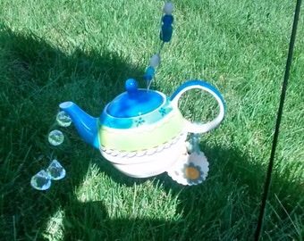 Rescued and Repurposed Garden Teapots