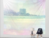 Art Tapestry Wall Hanging Surfin 2 Modern Photography Unique home decor pastel rainbow circles bokeh beach surfer ocean house ethereal light