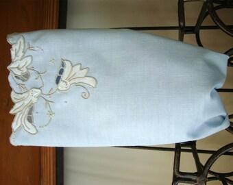 Vintage Embroidered Denim Blue Madeira Hand Towel Appliqued Flowers