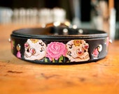 Sugar Skull Dog Collar with Pink Roses - Day of the Dead Leather Dog Collar - Sugar Skulls Crystals - 1.5 inch Wide Leather Dog Collar