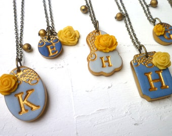 Blue Bridesmaids Set of 8 Necklaces, Custom Color Bridesmaid Gift, Personalized Letter, gold and blue, initial jewelry, monogram gift