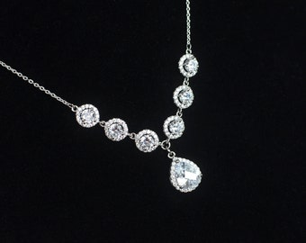 Bridal Necklace, Cubic Zirconia Bridal Necklace, Bridal Jewelry, Wedding Jewelry, Cubic Zirconia Bridal Jewelry,