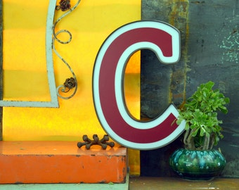 Vintage Marquee Sign Letter Capital 'C': Large Maroon & White Wall Hanging Initial -- Industrial Neon Channel Advertising with WORKING LEDs