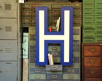 Vintage Marquee Sign Letter Capital 'H': Very Large Blue & White Wall Hanging Initial -- Industrial Neon Channel Advertising + WORKING LEDs