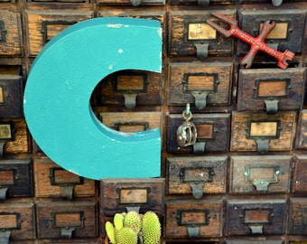 Vintage Marquee Sign Letter Capital 'C': Large Teal / Turquoise Metal Wall Hanging Initial -- Neon Channel Industrial Advertising Salvage