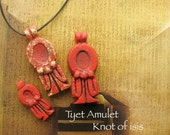 Tyet Amulet - The Knot of Auset -Protective Symbol - Handcrafted Pendant in Two Sizes and Finishes with Red Dye Oxide and Iron Rust Patina