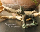 Wepwawet Altar Statue - Opener of the Ways - Ancient Egypt Jackal Deity -Full Canine Animal Form - Handmade Votive with Bronze Patina Finish