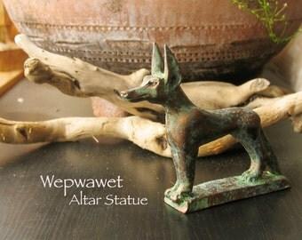 Wepwawet Altar Statue - Opener of the Ways - Ancient Egypt Jackal Deity -Full Canine Animal Form - Handmade Votive with Bronze Patina Finish