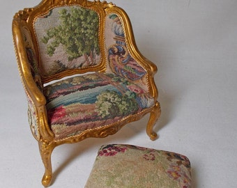 Dolls House Miniature Artisan Antique Austrian Petit Point Quality Chair and Footstool