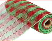 10 Inch Red Lime Plaid Deco Mesh Roll RE131051, Deco Mesh Supplies