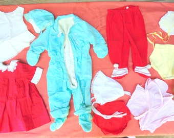 Baby Clothes. Clothing LOT. Toddler Clothing. 1950s. 1960s. for costumes. photo shoot. crafting lot. 9 pc lot. vintage baby. boys. girls.