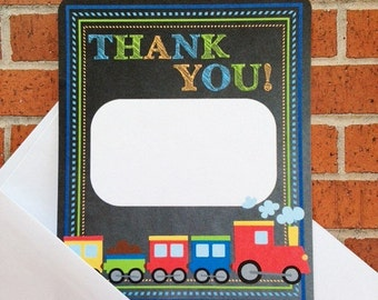 12 train birthday thank you cards with envelopes, choo choo train thank you, 2nd birthday train party thank yous, train thank you
