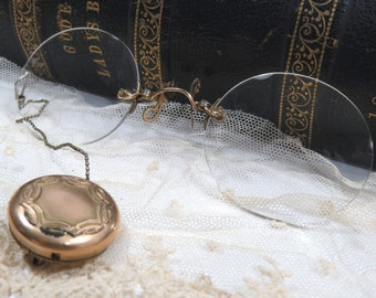 Antique Pince Nez Eyeglasses with Retractable Chain in Gold Filled Brooch, Original Case