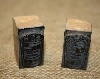 Letterpress Type Printer Blocks - Kraft Cans - item #1208