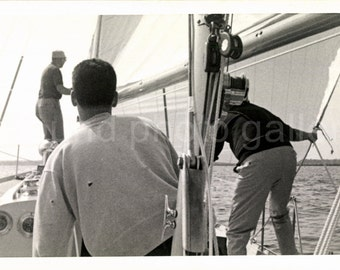 Vintage Photo, Men on Sailboat Deck, Black & White Photo, Snapshot, Old Photo, Sailing Photo, Found Photo, Vernacular Photo
