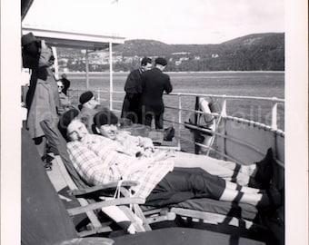 Vintage Photo, Couple on Ship Deck Chairs, Black & White Photo, Found Photo, Snapshot, Vacation Photo, Travel Photo, Candid   Photo, Cruise