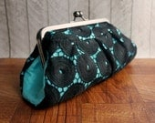 Clearance. Aqua lace clutch, lace fashion, turquoise clutch, silk clutch purse with black lace overlay, mod circles