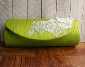 Silk clutch bag, pistachio green, Bright grass green clutch with white lace applique