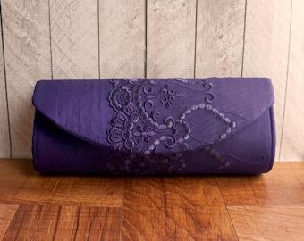 Plum purple clutch,  silk clutch purse with lace overlay. Formal clutch bag, lace fashion