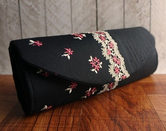 Lace clutch, silk clutch purse, lace fashion, black clutch bag with pink and ivory flower lace
