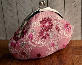 Pink silk clutch with floral lace overlay, personalized clutch, lace fashion, Pink clutch purse, small wristlet in frame