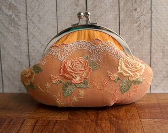 Clearance. Orange silk clutch with floral lace overlay, personalized clutch, lace fashion, framed orange clutch, small clutch purse wristlet