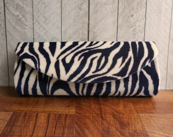 Clearance. Animal print clutch purse, purple clutch, purple and white zebra clutch bag, stripes
