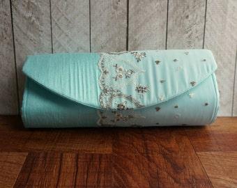Clearance. Light blue clutch bag, brown and ivory embroidered hearts, Robins egg blue clutch, light aqua silk clutch purse, pool blue