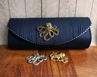 Octopus clutch, navy blue clutch bag with bronze, silver, or gold octopus, silk clutch, bridesmaid clutch, nautical wedding
