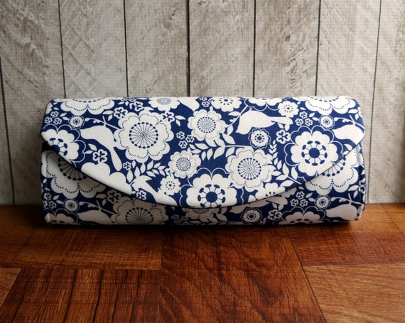 Navy Blue Clutch Blue And White Floral Clutch Purse By Toriska