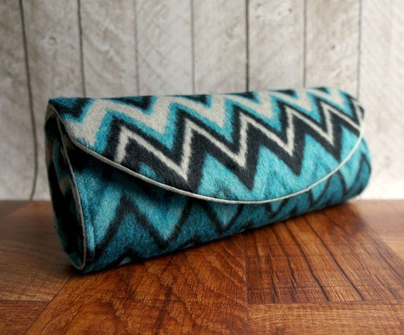 Chevron clutch purse, Clutch bag, fall fashion, wool clutch, teal clutch, teal, black and gray zig zag clutch