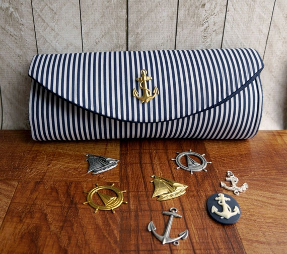 Nautical clutch, navy blue clutch purse with gold or silver embellishment, striped clutch, bridesmaid clutch, nautical wedding.
