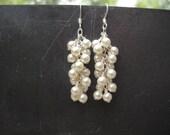 White Pearl Waterfall Earrings