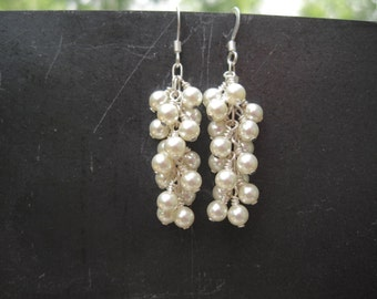 White Pearl Waterfall Earrings