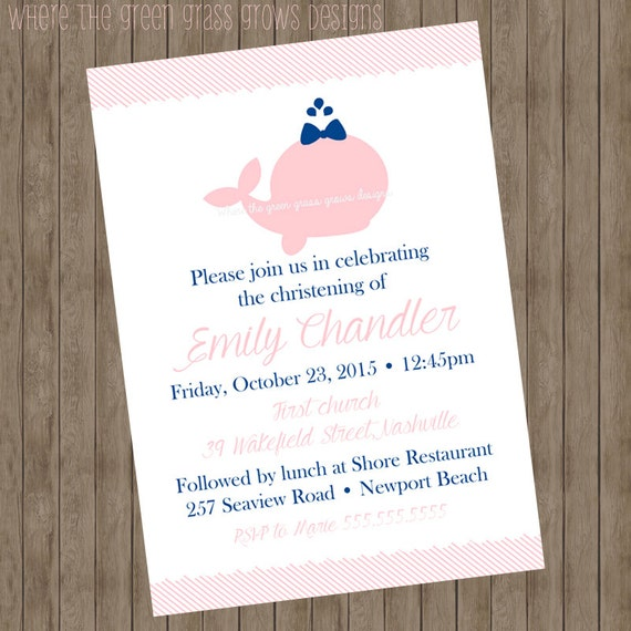 Whale Christening Invitations