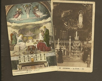 Lourdes France – Pair of Vintage Postcards The Nativity and The Grotto - Beautifully Historic Ephemera