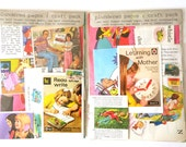 Retro Childhood-themed creativity kit with vintage book pages and coordinating craft supplies