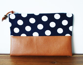 Navy Blue and White Polkadot Cloth and Tan Vegan Leather Zipper Pouch