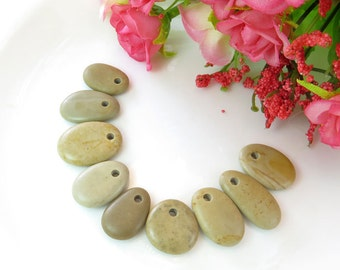 drilled beach stones, Jewelry Supplies, beach pebbles, beach stone necklace, top drilled stone