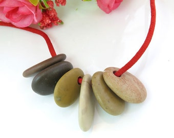 Bulk Top Drilled Beach Stones 6 pcs Jewelry Supplies  Eco Friendly Colorful Medium Beads Beach Pebbles for Crafts DIY