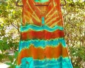 Guinevere Tank Tunic Sizzling Summer Cutie Tangerine Cerulean Hand Dyed Hemp and Organic Cotton Knit with Lycra Women's Size S/M