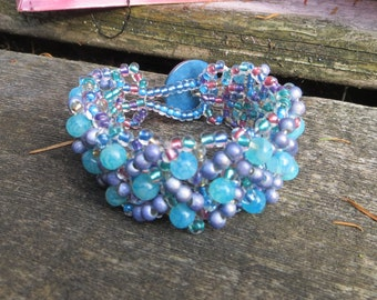 Light Blue and Lavender Beaded Cuff Bracelet Woven Bracelet Embellished Handmade