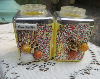 Vintage Salt and Pepper Shakers From Ocean City MD Yellow Plastic Glittery with Seashells