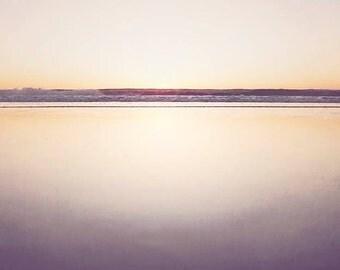 "Minimalist Beach Photograph, Purple Lavender Yellow, Ocean Landscape, Simple Beach Art, Seascape, Ocean Waves ""Minimalist Seascape"""