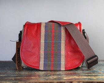 Red Plaid Tartan Leather Camera Satchel Bag DSLR- PRE-ORDER