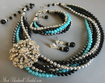 Complete Twisted Bridal Jewelry Set Necklace Bracelet Earrings in Turquoise Black Grey Mix 6 strands Swarovski Pearls and Rhinestone Brooch